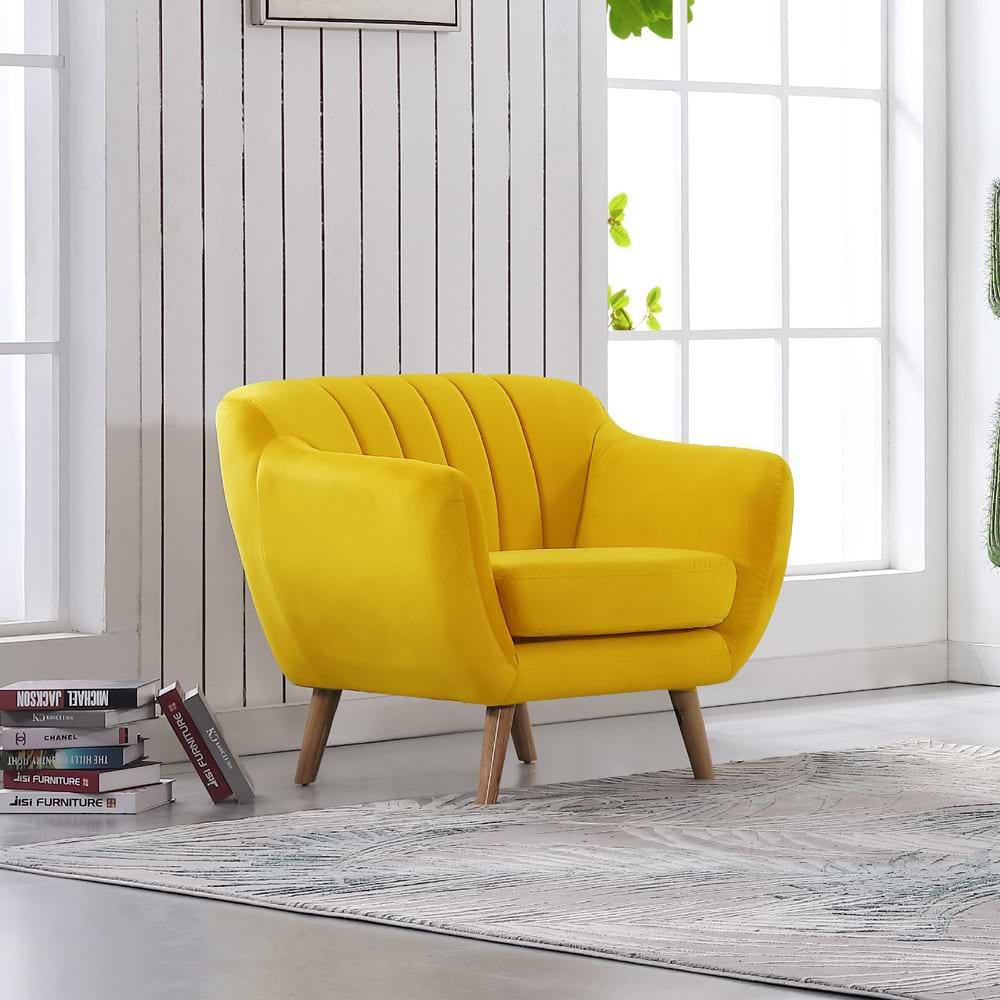 כורסא מעוצבת צהובה yellow-1000b
