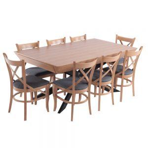 פינת אוכל מפוארת מעץ נפתחת 1.8-3.4 מ' עם שולחן רגל מתכת ו- 6 כסאות דגם ארבל