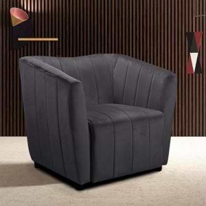 כורסא מעוצבת עם ריפוד בד קטיפה אפור דגם דנה