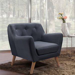 כורסא נוחה בעיצוב רטרו עם ריפוד בד אפור דגם קארין