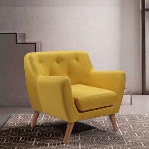 כורסא נוחה בעיצוב רטרו עם ריפוד בד צהוב-חרדל דגם קארין