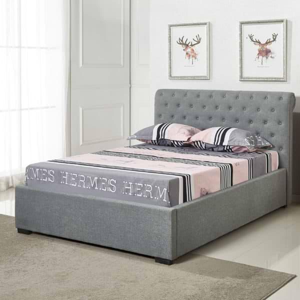 מיטה רחבה לנוער בריפוד בד עם ארגז מצעים מעץ דגם קיםם 120