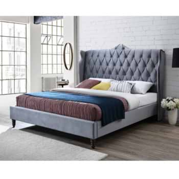 מיטה זוגית מפוארת 180×200 מרופדת בד קטיפה דגם קלריס