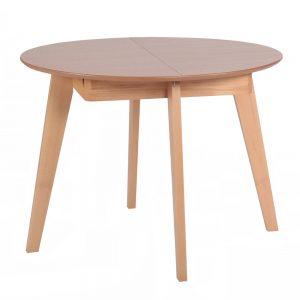 שולחן אוכל עגול נפתח מעץ מלא משולב דגם ואנס אלון