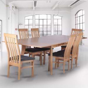 פינת אוכל נפתחת 1.6-2.7 מ' מעץ מלא משולב כוללת שולחן ו-6 כסאות דגם נדב