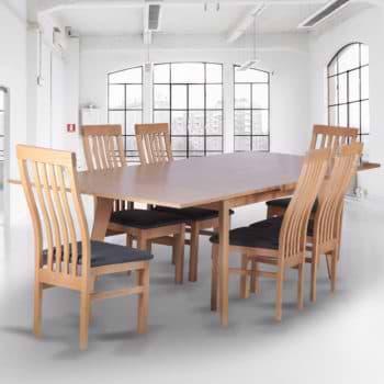 שולחן אוכל נפתח 1.6-2.7 מ' מעץ מלא משולב דגם נדב
