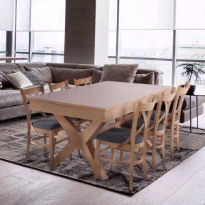 פינת אוכל מפוארת מעץ נפתחת 1.8-3.4 מ' כולל 6 כסאות דגם אופיר