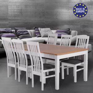 פינת אוכל נפתחת 1.8-2.4 מ' מעץ מלא משולב כוללת שולחן ו-6 כסאות דגם פראג