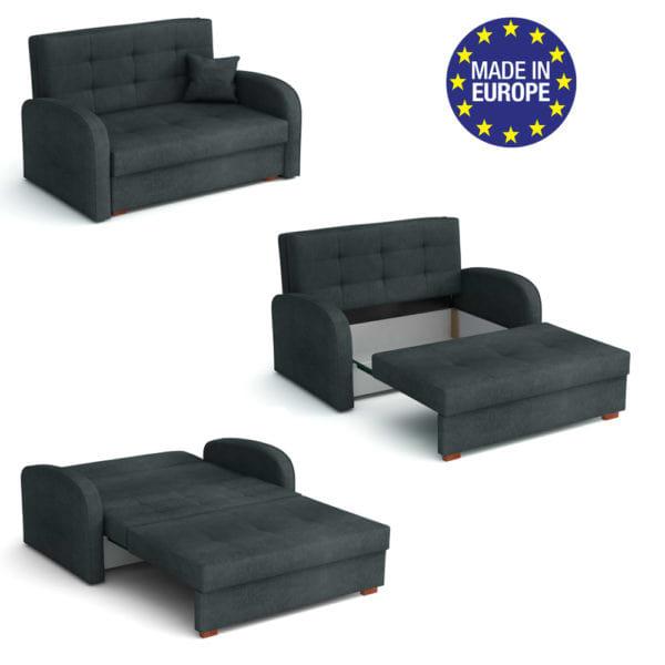 ספה אירופאית מעוצבת נפתחת למיטה עם ארגז מצעים דגם רומי-אפור