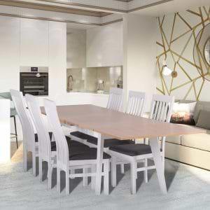פינת אוכל נפתחת 1.4-2.5 מ' מעץ מלא משולב כוללת שולחן ו-4 כסאות דגם תומר