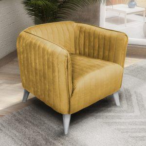 כורסא מעוצבת בריפוד בד קטיפה דגם בריסל