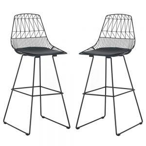 זוג כסאות בר ממתכת עם מושב מרופד HOME DECOR דגם גילי – משלוח חינם!