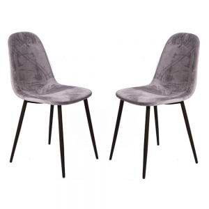 סט 4 כסאות אוכל מרופדים בד קטיפתי דגם לפיד