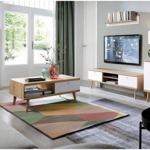 סט מזנון ושולחן מעוצבים בגימור מודרני תוצרת אירופה דגם פרימו