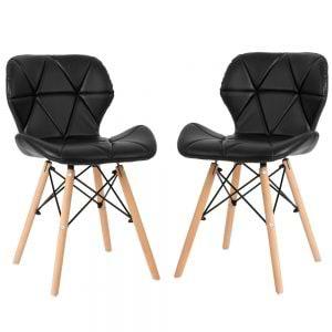 זוג כסאות מרופדים לפינת אוכל עם רגלי עץ מלא דגם סתיו – משלוח חינם!