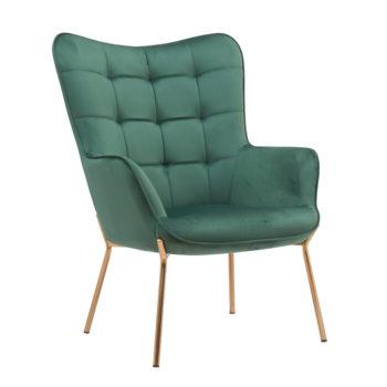 כורסא מלכותית מעוצבת עם רגלי זהב וריפוד קטיפתי דגם דובר