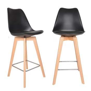 זוג כסאות בר עם כרית מרופדת ורגלי עץ מלא דגם דותן – משלוח חינם!