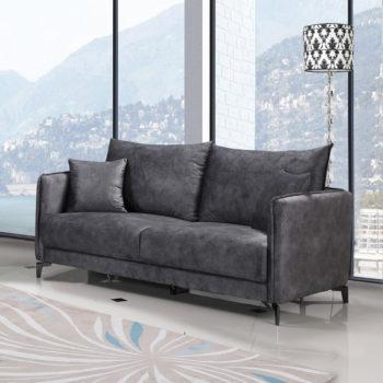 ספה תלת מושבית בעיצוב מודרני מרופדת בד רחיץ דגם קיטו-אפור
