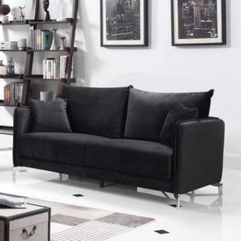 ספה תלת מושבית בעיצוב מודרני מרופדת בד קטיפתי דגם קיטו-שחור