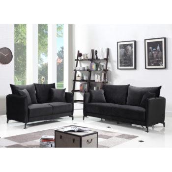 מערכת ישיבה 3+2 בעיצוב מודרני מרופדת בד קטיפתי דגם קיטו-שחור