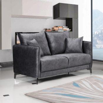 ספה דו מושבית בעיצוב מודרני מרופדת בד רחיץ דגם קיטו-אפור