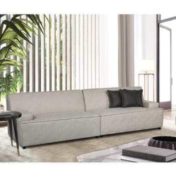 ספה רחבה 2.9 מ' מעוצבת עם קפיצים מבודדים ובד רחיץ דגם ליסבון – קפוצינו