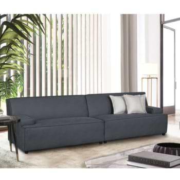 ספה רחבה 2.9 מ' מעוצבת עם קפיצים מבודדים ובד רחיץ דגם ליסבון – אפור