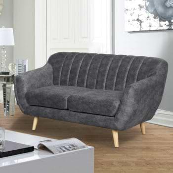 ספה דו מושבית מעוצבת עם קפיצים מבודדים ובד רחיץ דגם פורטו – אפור