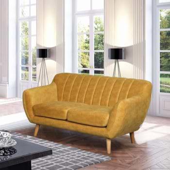ספה דו מושבית מעוצבת עם קפיצים מבודדים ובד רחיץ דגם פורטו – חרדל