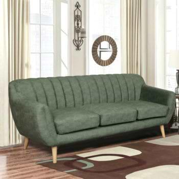 ספה תלת מושבית מעוצבת עם קפיצים מבודדים ובד רחיץ דגם פורטו – ירוק