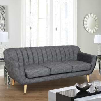 ספה תלת מושבית מעוצבת עם קפיצים מבודדים ובד רחיץ דגם פורטו – אפור