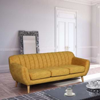 ספה תלת מושבית מעוצבת עם קפיצים מבודדים ובד רחיץ דגם פורטו – חרדל
