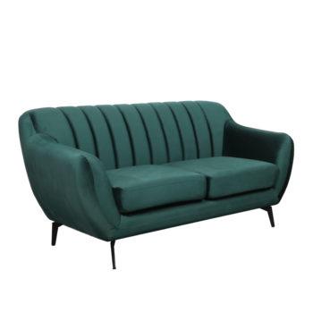 ספה דו מושבית מעוצבת עם קפיצים מבודדים ובד קטיפה דגם פורטו – ירוק