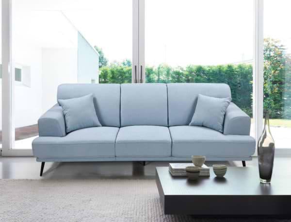 ספה תלת מושבית מעוצבת עם ריפוד דוחה נוזלים דגם סטנלי - אפור