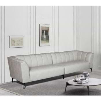 ספה רחבה 3 מ' מעוצבת עם קפיצים מבודדים ובד רחיץ דגם ורונה – קפוצינו