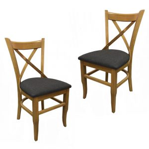 זוג כיסאות אוכל מעוצב עשוי עץ אלון מלא דגם וינה – משלוח חינם!