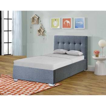 מיטת יחיד מרופדת בד עם ארגז מצעים מעץ דגם נועם 90