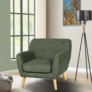 כורסא מעוצבת בעיצוב רטרו עם ריפוד בד רחיץ דגם אליס – ירוק