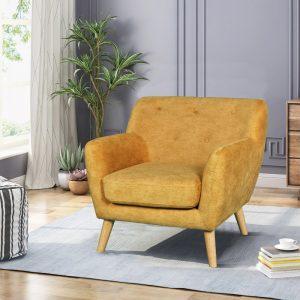 כורסא מעוצבת בעיצוב רטרו עם ריפוד בד רחיץ דגם אליס – חרדל