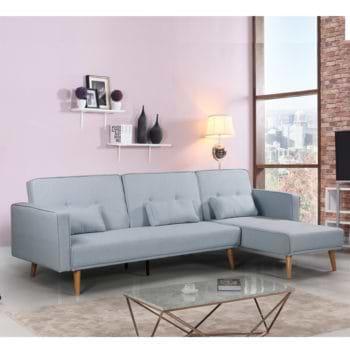 מערכת ישיבה פינתית מבד נפתחת למיטה זוגית דגם לוטוס