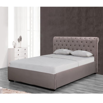 מיטה זוגית מעוצבת 140×190 בריפוד בד קטיפתי עם ארגז מצעים מעץ דגם נטלי