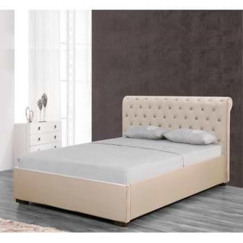 מיטה זוגית מעוצבת 160×190 בריפוד בד קטיפתי עם ארגז מצעים מעץ דגם נטלי