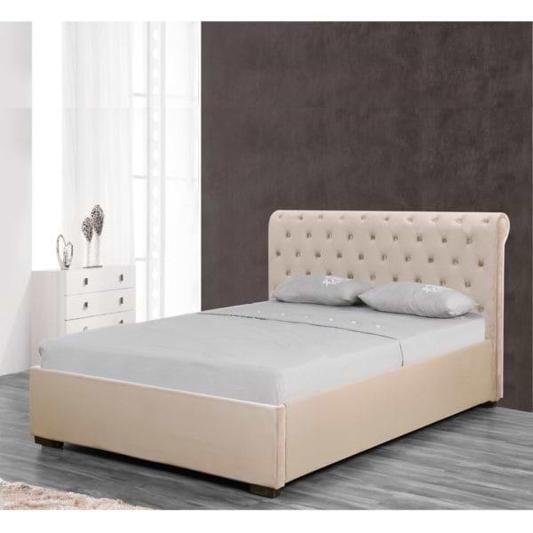 מיטה זוגית מעוצבת 140x190 בריפוד בד קטיפתי עם ארגז מצעים מעץ דגם נטלי