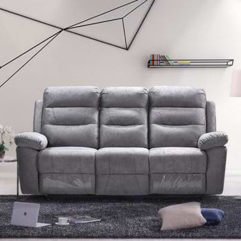 ספה תלת מושבית מרופדת בד רחיץ עם 2 הדומים נשלפים דגם ולנסיה