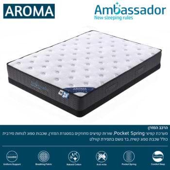 מזרן קשיח 140×190 עם קפיצים מבודדים למיטה זוגית AMBASSADOR דגם ארומה