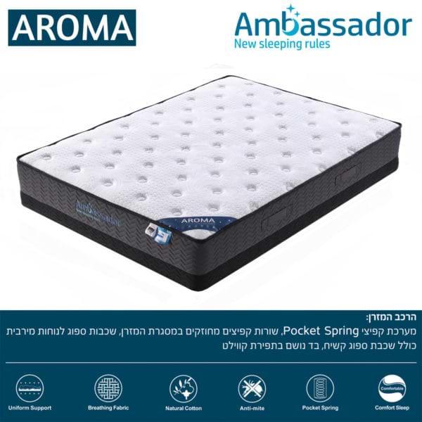 מזרן קשיח 120x190 עם קפיצים מבודדים למיטת נוער רחבה AMBASSADOR דגם ארומה
