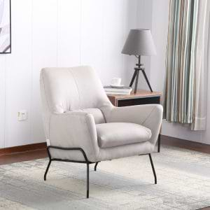 כורסא מעוצבת מרופדת בד רחיץ עם רגלי מתכת דגם רובי