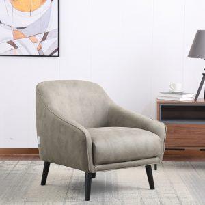 כורסא מעוצבת מרופדת בד רחיץ עם רגלי עץ מלא דגם טיבולי