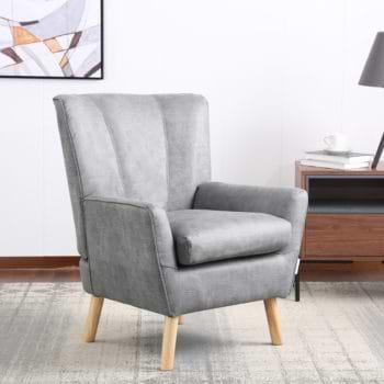 כורסא קלאסית מעוצבת מרופדת בד רחיץ עם רגלי עץ מלא דגם ורנה