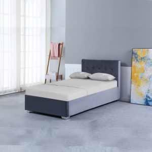 מיטת יחיד מרופדת בד קטיפה עם ארגז מצעים מעץ דגם אמילי